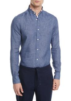 Ermenegildo Zegna Heathered Linen Band-Collar Sport Shirt