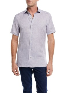 Ermenegildo Zegna Heathered Linen Short-Sleeve Sport Shirt
