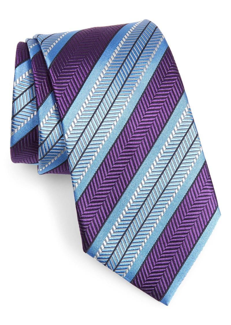 Ermenegildo Zegna Herringbone Stripe Silk Tie