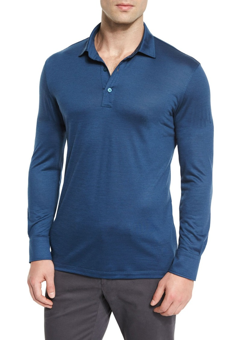 32ec2605 High-Performance Wool Long-Sleeve Polo Shirt