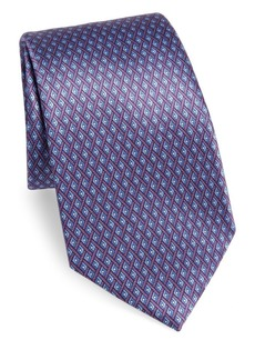 Ermenegildo Zegna Intersectional Diamond Print Silk Tie