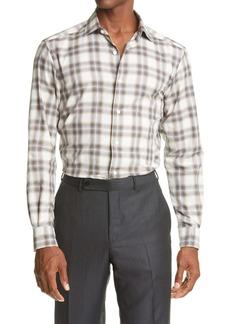 Ermenegildo Zegna Large Plaid Cotton Button-Up Shirt