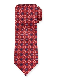 Ermenegildo Zegna Men's Alternating Medallions Silk Tie  Red