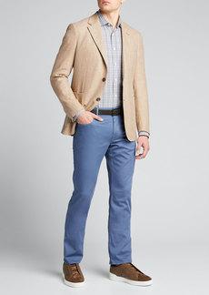 Ermenegildo Zegna Men's Heathered  Check Long-Sleeve Trim-Fit Shirt