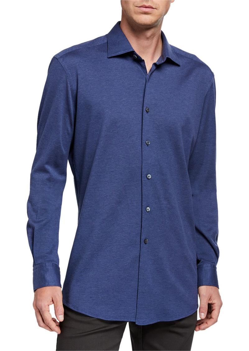 Ermenegildo Zegna Men's Heathered Jersey Sport Shirt