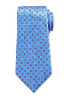 Ermenegildo Zegna Men's Hexagon-Print Silk Tie  Light Blue