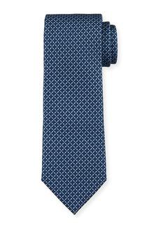 Ermenegildo Zegna Men's Lattice-Print Silk Tie  Blue