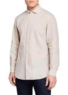 Ermenegildo Zegna Men's Long-Sleeve Linen/Cotton Sport Shirt