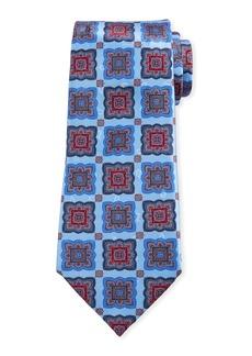 Ermenegildo Zegna Men's Medallion-Print Silk Tie  Light Blue