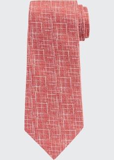Ermenegildo Zegna Men's Scratch-Print Silk Tie  Red