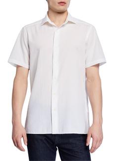 Ermenegildo Zegna Men's Seersucker Short-Sleeve Regular-Fit Sport Shirt  White
