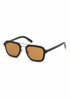 Ermenegildo Zegna Men's Shiny Acetate Double-Bridge Sunglasses