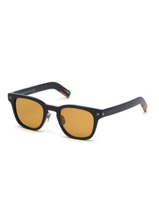 Ermenegildo Zegna Men's Shiny Square Acetate Sunglasses
