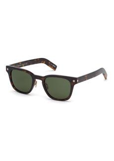 Ermenegildo Zegna Men's Striped Havana Square Sunglasses