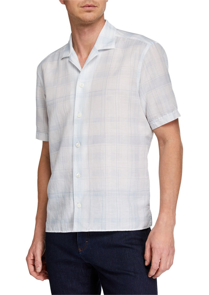 Ermenegildo Zegna Men's Striped Linen-Blend Short-Sleeve Sport Shirt
