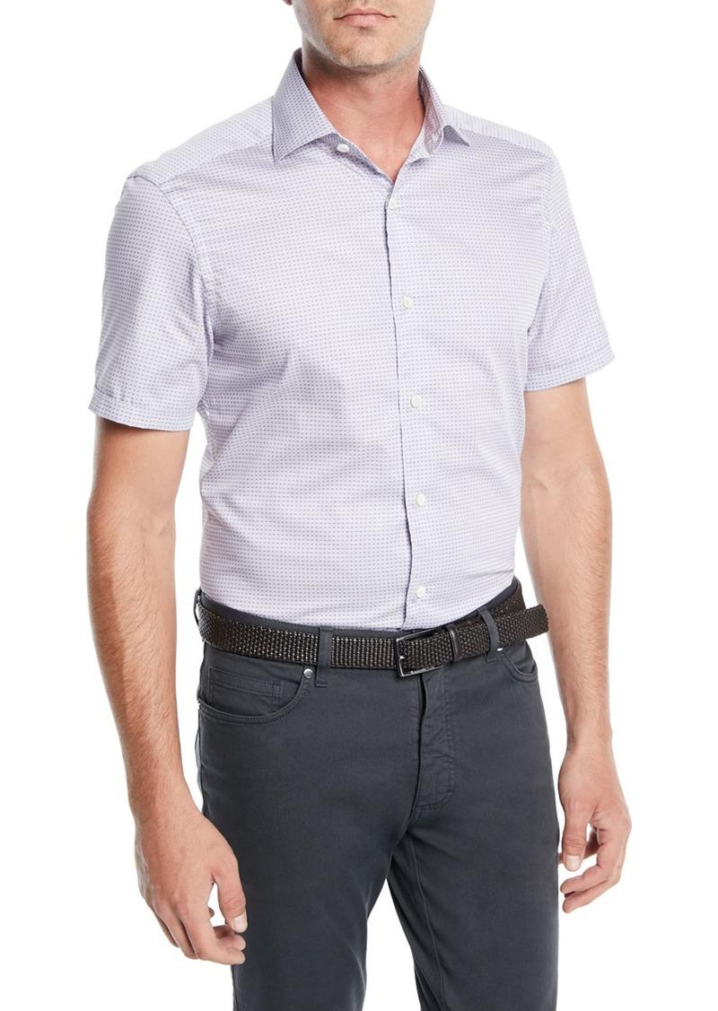 Ermenegildo Zegna Men's Woven Micro-Dot Cotton Short-Sleeve Shirt