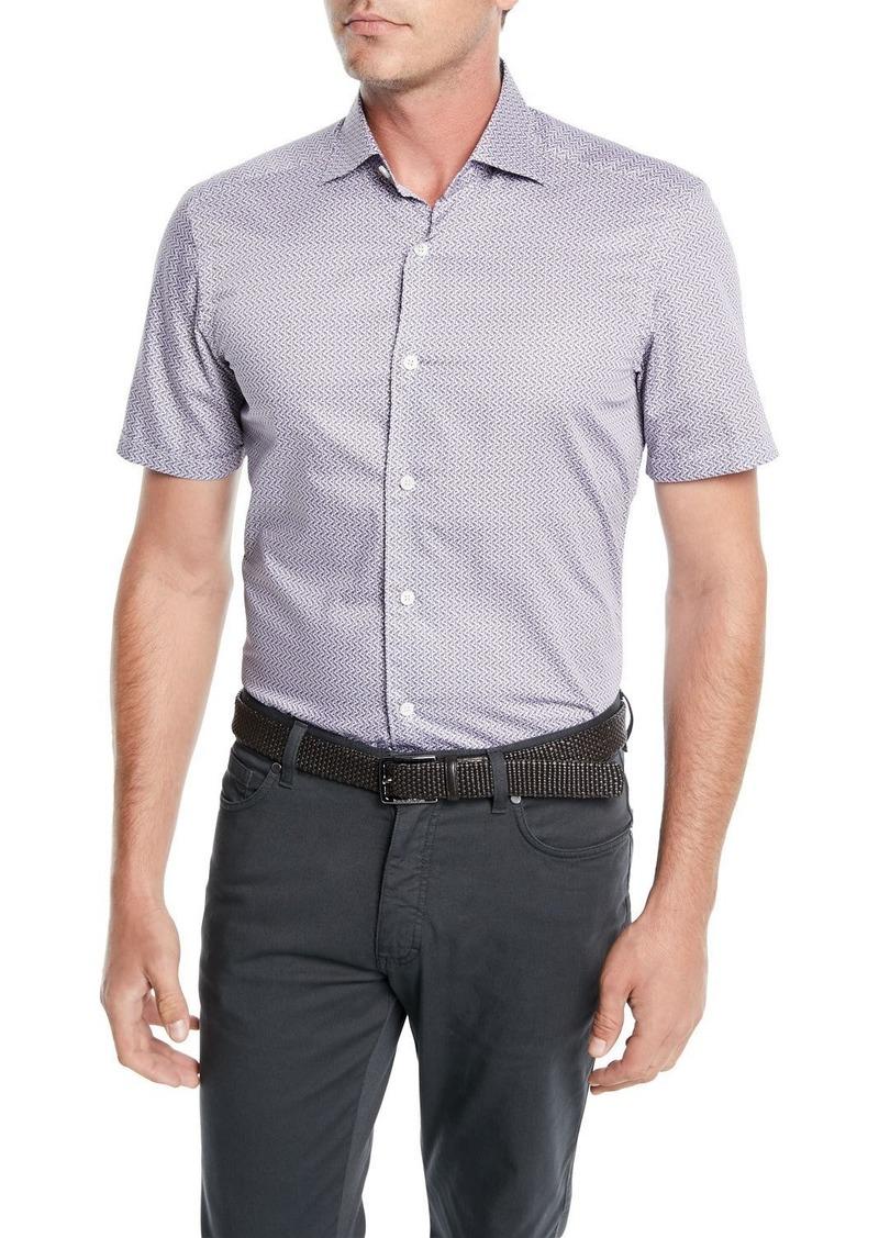 Ermenegildo Zegna Men's Woven Micro-Print Cotton Shirt