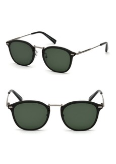 Ermenegildo Zegna Metal & Leather Sunglasses