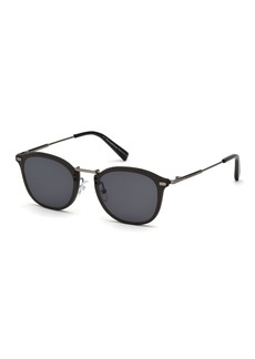 Ermenegildo Zegna Metal & Leather Universal Fit Sunglasses