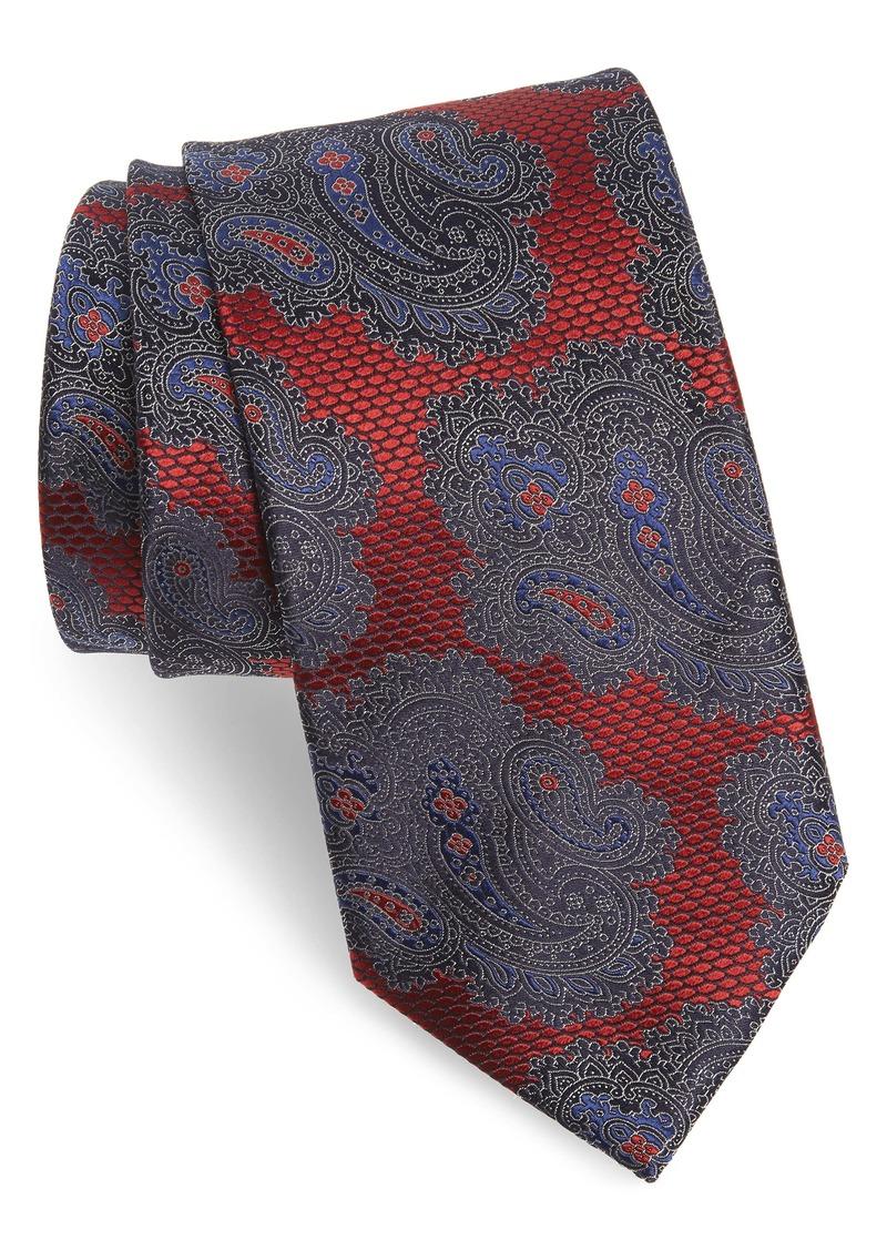 Ermenegildo Zegna Paisley Silk X-Long Tie