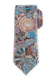 Ermenegildo Zegna Peacock Printed Silk Tie