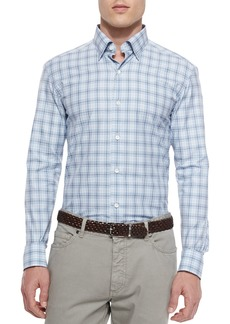 Ermenegildo Zegna Plaid Long-Sleeve Sport Shirt