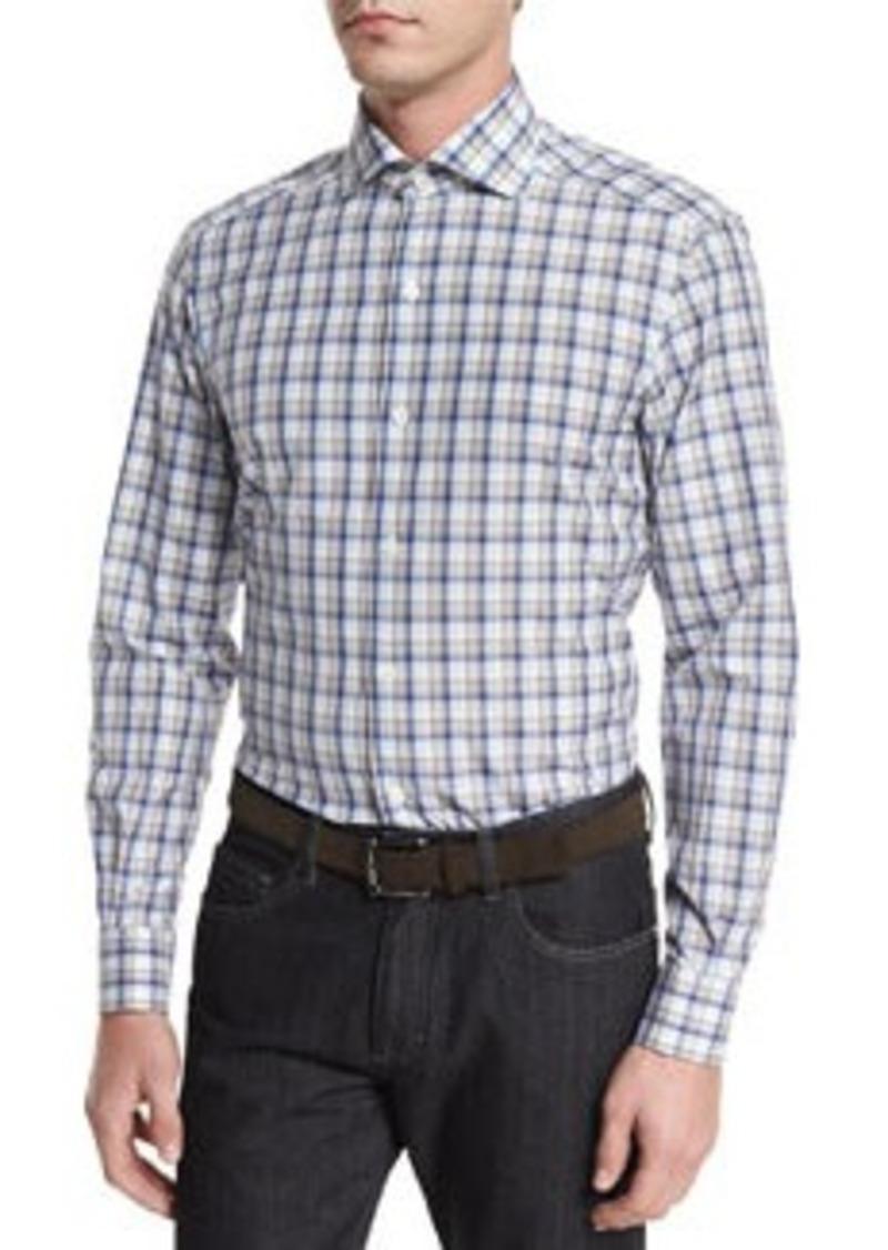 Ermenegildo Zegna Plaid Long-Sleeve Sport Shirt