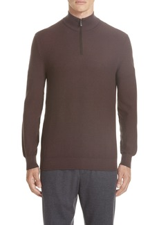 Ermenegildo Zegna Quarter Zip Cotton & Silk Pullover