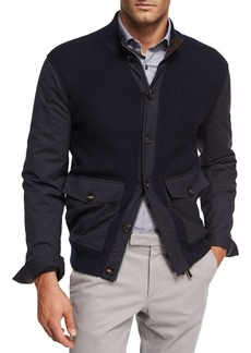 Ermenegildo Zegna Ribbed Wool Patch-Pocket Cardigan Jacket