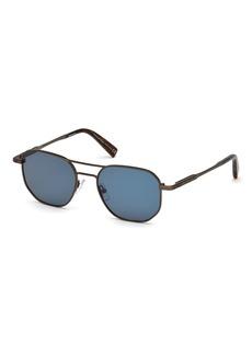 Ermenegildo Zegna Square Metal Aviator Sunglasses  Blue Pattern