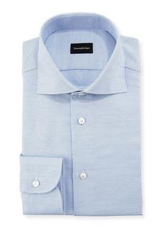 Ermenegildo Zegna Stair-Weave Cotton Dress Shirt