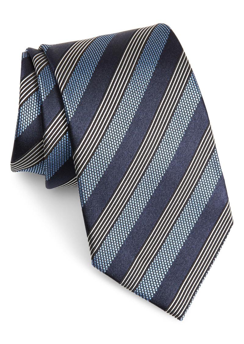 Ermenegildo Zegna Stripe Silk & Cotton Tie