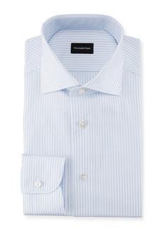 Ermenegildo Zegna Striped Barrel-Cuff Dress Shirt