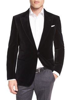 Ermenegildo Zegna Tic Velvet Single-Button Sport Coat