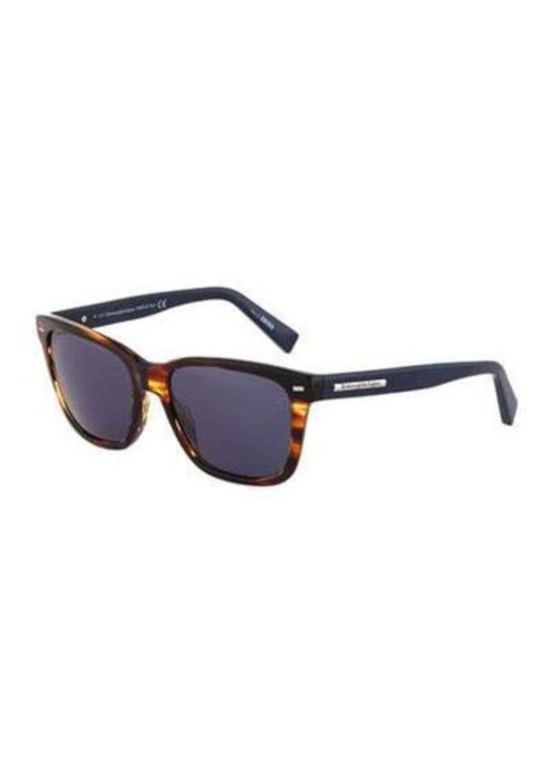 Ermenegildo Zegna Two-Tone Square Havana Plastic Sunglasses