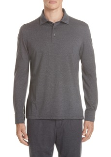 Ermenegildo Zegna Wool & Cotton Long Sleeve Polo Shirt