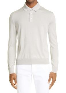 Ermenegildo Zegna Ermengildo Zegna Cashseta Long Sleeve Cashmere & Silk Polo Shirt