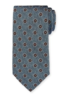 Ermenegildo Zegna Fancy Box Silk Tie  Slate Blue