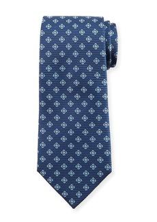 Ermenegildo Zegna Floral-on-Stripes Silk Tie