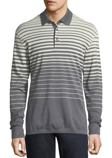Ermenegildo Zegna Long-Sleeve Striped Polo Shirt