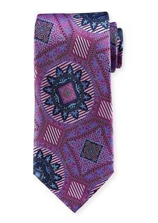Ermenegildo Zegna Macro Medallions Print Silk Tie  Purple