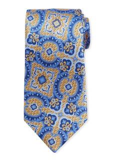 Ermenegildo Zegna Medium Paisley Silk Tie  Yellow/Blue