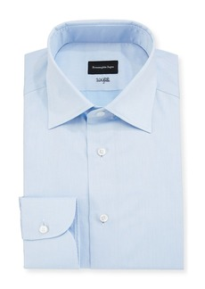 Ermenegildo Zegna Men's 100Fili Cento Solid Poplin Dress Shirt  Blue