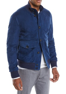 Ermenegildo Zegna Men's Button-Front Suede Bomber Jacket