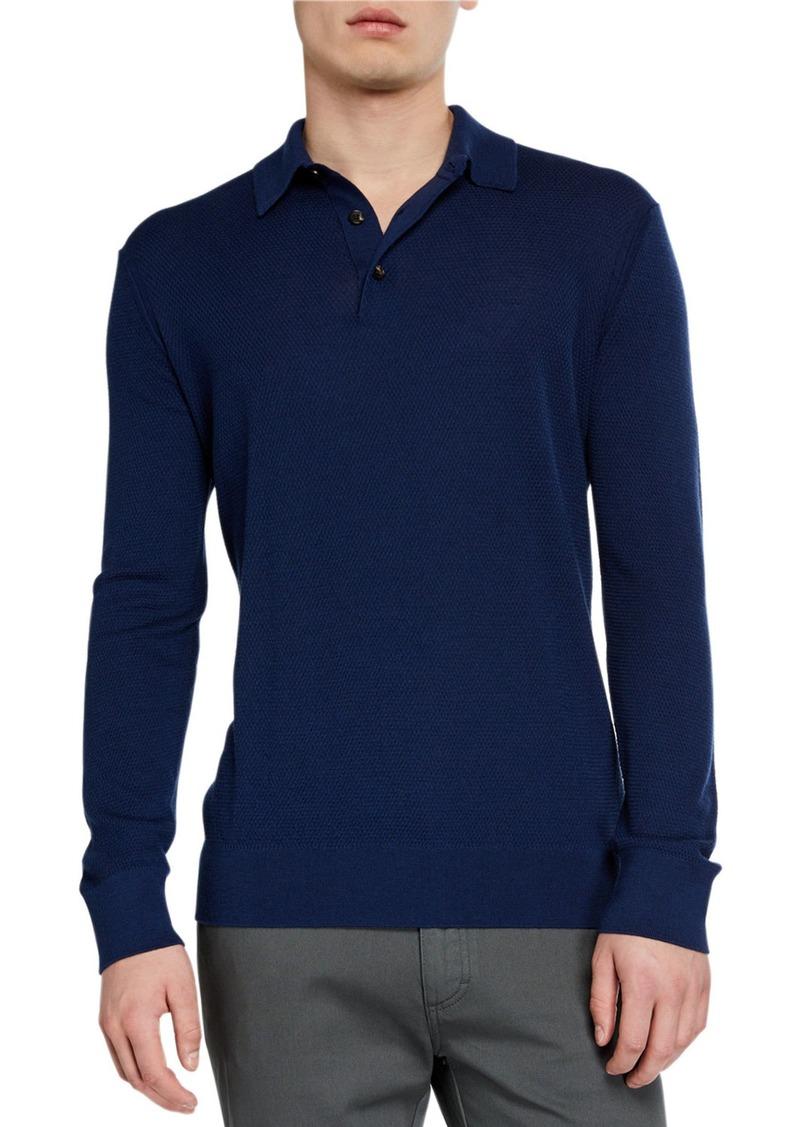 Ermenegildo Zegna Men's Cashmere-Blend Long-Sleeve Polo Shirt  Dark Blue
