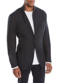 Ermenegildo Zegna Men's Cashmere-Silk Two-Button Blazer Jacket  Black