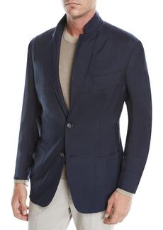 Ermenegildo Zegna Men's Cashmere-Silk Two-Button Blazer Jacket  Navy