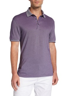 Ermenegildo Zegna Men's Cotton Jersey Polo Shirt with Contrast Collar/Cuffs