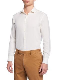 Ermenegildo Zegna Men's Cotton/Cashmere Twill Sport Shirt, White