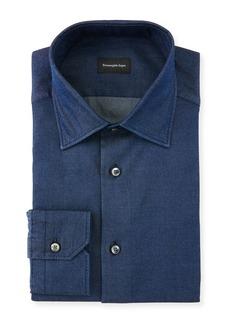 Ermenegildo Zegna Men's Denim Cotton Dress Shirt
